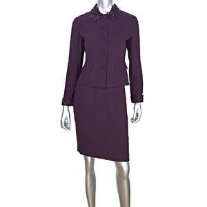 Talbots Petite Skirt Suit Beaded Details Sz 4P